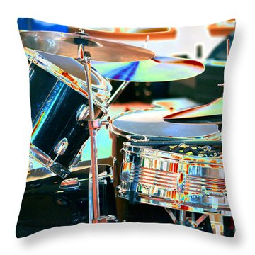 Drum Set Throw Pillow