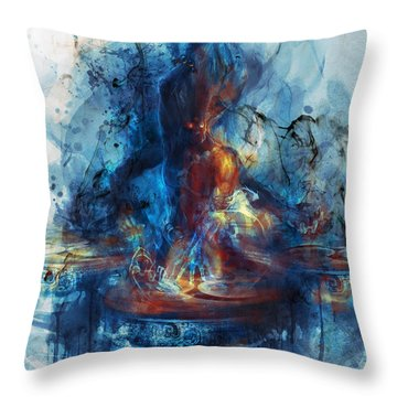 Throw Pillow featuring the digital art Drum by Te Hu