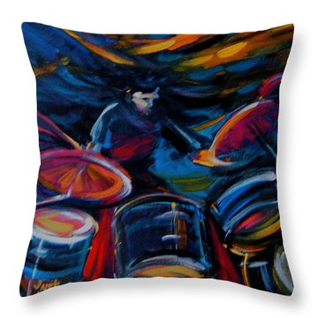 Drummer Craze Throw Pillow