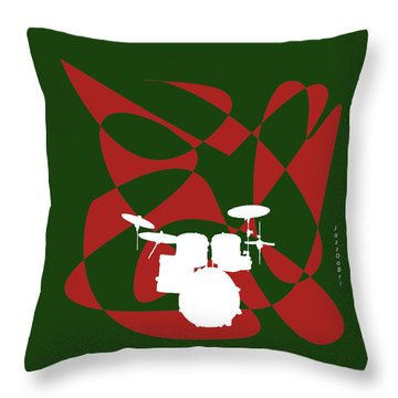 Drums In Green Strife Throw Pillow