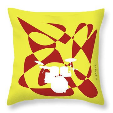 Drums In Yellow Strife Throw Pillow