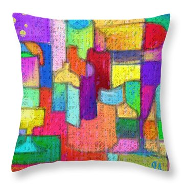 Drunk Aka Too Many Drinks Throw Pillow by Jeremy Aiyadurai