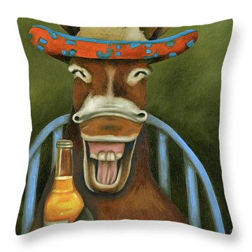 Throw Pillow featuring the painting Drunken Dumb Ass by Leah Saulnier The Painting Maniac