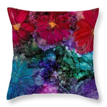 Drunken Flowers Throw Pillow