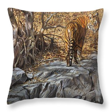 Throw Pillow featuring the painting Dry, Hot And Irritable by Alan M Hunt