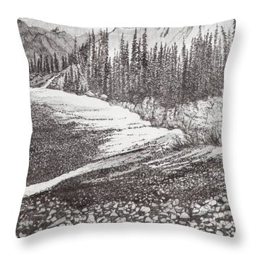 Dry Riverbed Throw Pillow