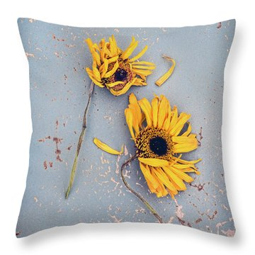 Dry Sunflowers On Blue Throw Pillow by Jill Battaglia