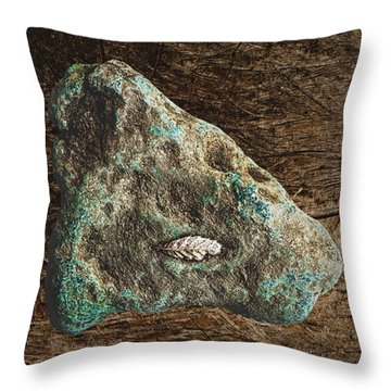 Dryas Leaf And Copper Nugget Throw Pillow