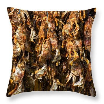 Drying Fish Heads - Iceland Throw Pillow