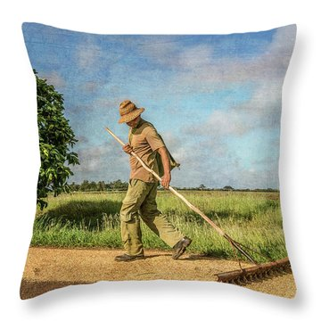Drying Rice Throw Pillow