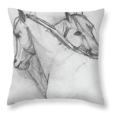 Throw Pillow featuring the drawing Dual Massage Sketch by Jani Freimann