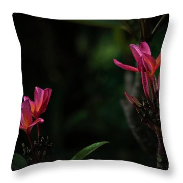 Dual Red Plumerias Throw Pillow