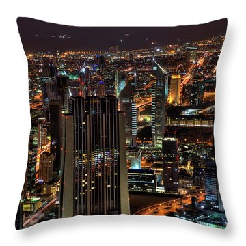 Dubai At Night Throw Pillow