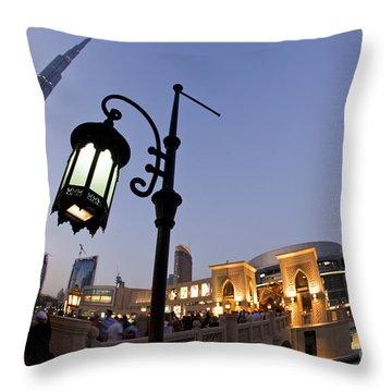 Throw Pillow featuring the photograph Dubai Burj Khalifa by Juergen Held