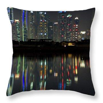 Dubai City Skyline Nighttime  Throw Pillow