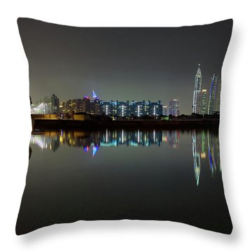 Dubai City Skyline Night Time Reflection Throw Pillow