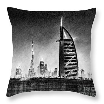 Dubai Cityscape Drawing Throw Pillow