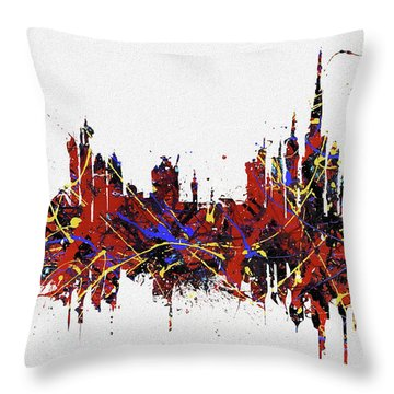 Throw Pillow featuring the painting Dubai Colorful Skyline by Dan Sproul