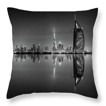 Dubai Skyline Reflection At Amazing Night, Dubai, United Arab Emirates Throw Pillow