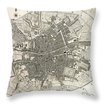 Dublin Ireland Map Ca1797 Throw Pillow