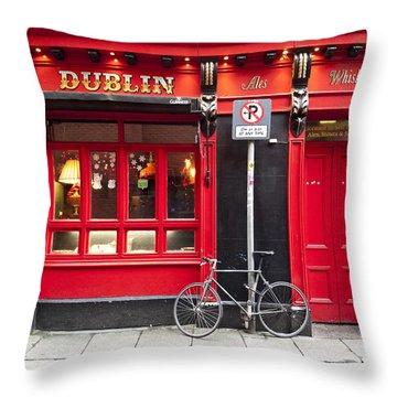 Dublin Red Pub Throw Pillow by Rae Tucker