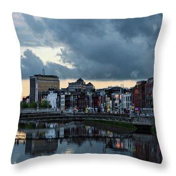 Dublin Sky At Sunset Throw Pillow