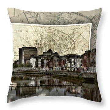 Dublin Skyline Mapped Throw Pillow