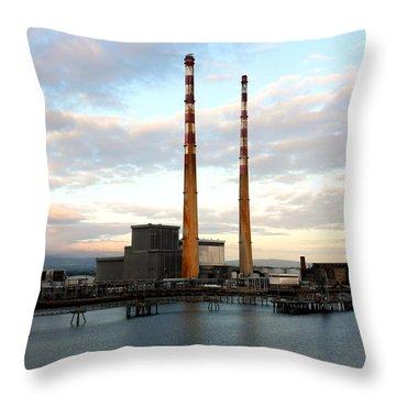 Dublin's Poolbeg Chimneys Throw Pillow