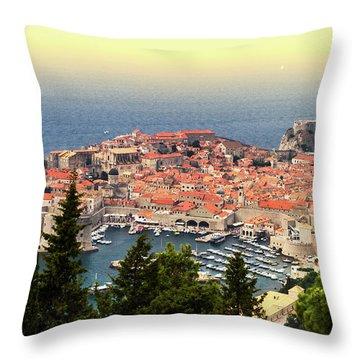 Dubrovnik Old City On The Adriatic Sea, South Dalmatia Region, C Throw Pillow