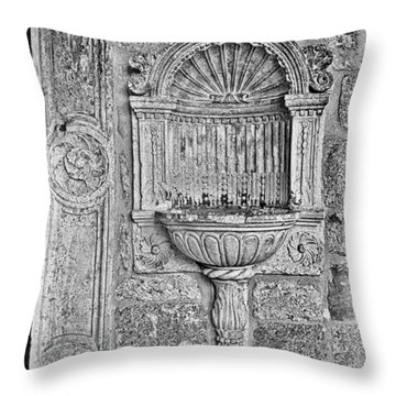 Dubrovnik Wall Art - Black And White Throw Pillow