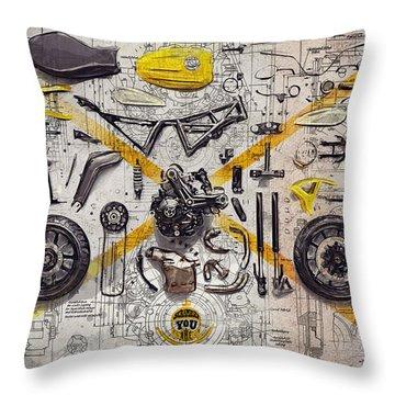 Ducati Scrambler Components Throw Pillow