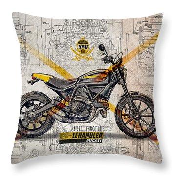 Ducati Scrambler Full Throttle Throw Pillow