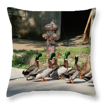 Duck And Hydrant Throw Pillow