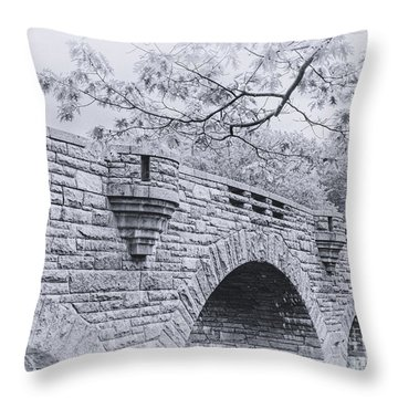 Duck Brook Bridge In Black And White Throw Pillow