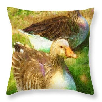 Gandering Geese Throw Pillow