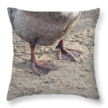 Throw Pillow featuring the photograph Duck Feet In The Sand by Cindy Garber Iverson