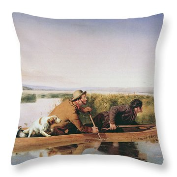 Duck Hunters On The Hoboken Marshes, New Jersey, 1849 Throw Pillow