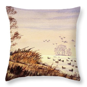 Duck Hunting Times Throw Pillow by Bill Holkham