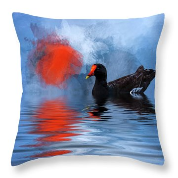 Duck In A Pond Throw Pillow by Cyndy Doty
