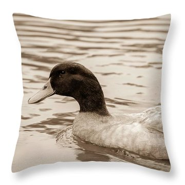 Duck In Pond Throw Pillow