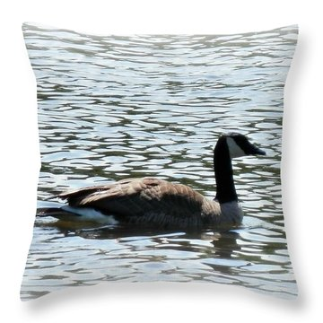 Duck In The Water Throw Pillow