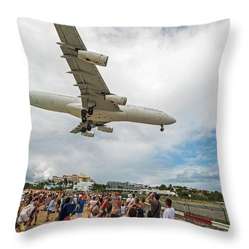 Duck... Landing Over Sunset Beach Saint Martin Caribbean Throw Pillow