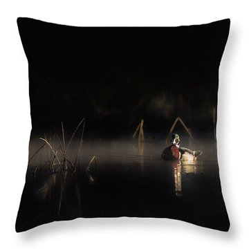 Throw Pillow featuring the photograph Duck Of The Morning Mist by Bill Wakeley