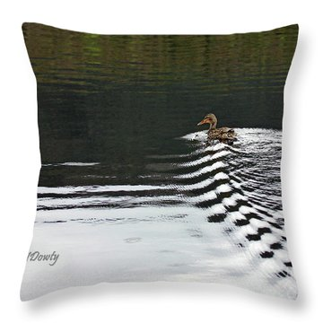 Duck On Ripple Wake Throw Pillow