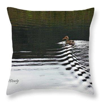 Duck On Ripple Wake Throw Pillow