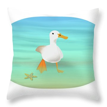Duck Paddling At The Seaside Throw Pillow