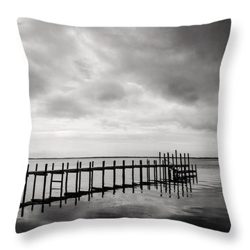 Duck Pier In Black And White Throw Pillow
