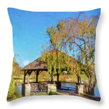Duck Pond Gazebo At Virginia Tech Throw Pillow