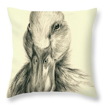 Duck Portrait In Charcoal Throw Pillow