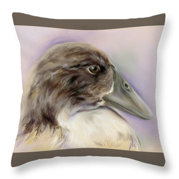 Duck Portrait In Gray And Brown Throw Pillow